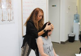 Shirin and Dr Mercede practicing orthopedic testing