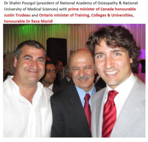 Dr Shahin Pourgol with Canadian prime minister honourable Justin Trudeau and Ontario minister of colleges & universities, honourable Dr Reza Moridi